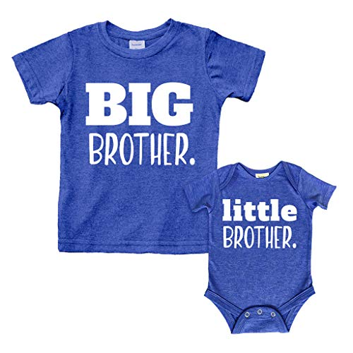 Big Brother Little Brother Shirts Matching Outfits Sibling Gifts Baby Set (Charcoal Blue, Kids (3Y) / Baby (1-3M))