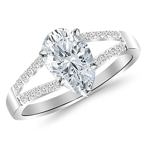 0.45 Cttw 14K White Gold Pear Cut Curving Split Shank Diamond Engagement Ring with a 0.3 Carat H-I Color SI2-I1 Clarity Center Image