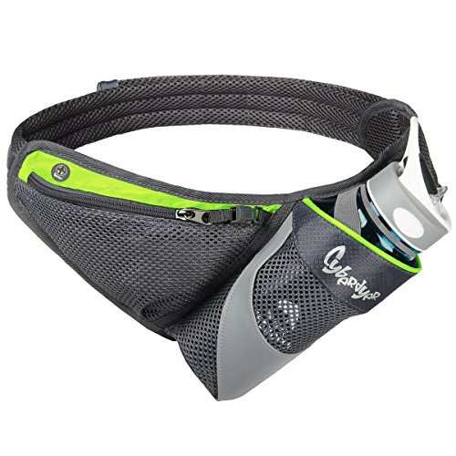 CyberDyer Running Belt Hydration Waist Pack with Water Bottle Holder for Men Women Waist Pouch Fanny Bag Reflective Fits iPhone 6/7 Plus (Green)