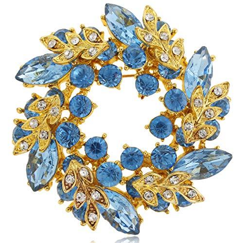 EVER FAITH Austrian Crystal Wedding Flower Wreath Brooch Pin Light Blue Gold-Tone