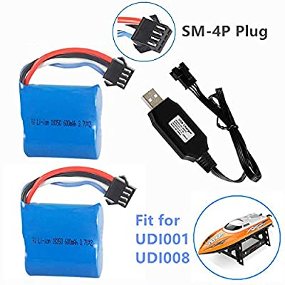 7.4V (2 x 3.7V) 600mAh Li-ion Battery with SM-4P Plug for UDI001 Venom Speed RC Boat UDI008 UD08 UDI001 Battery 2 Pack with USB Charger: Home Audio & Theater