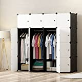 PREMAG DIY Portable Wardrobe Closet, Modular Storage Organizer, Space Saving Armoire, Deeper Cube With Hanging Rod 16 cubes