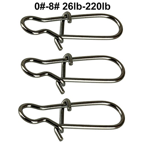 JL Sport Easy Catch 100 Count Pack Duo Lock Snaps Size 0#-8# Black Nice Snap Swivel Slid Rings Stainless Steel USA Fishing Tackle Kit - Test: 26LB-220LB (0#-26LB- 100PCS) (1#-40LB-100PCS)