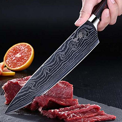 PDING 8 inch Professional Chef Knives Classic Japanese High Carbon Stainless Steel Sharp Chef's Knife Ergonomic Equipment Handle Kitchen Knife Blade Razor (8'', wave) by PDING (Image #4)