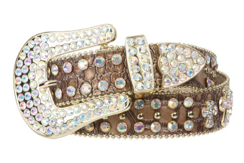 (Snap On Western Cowgirl Alligator Rhinestone Cross Leather Belt, Light Brown | M/L - 38)
