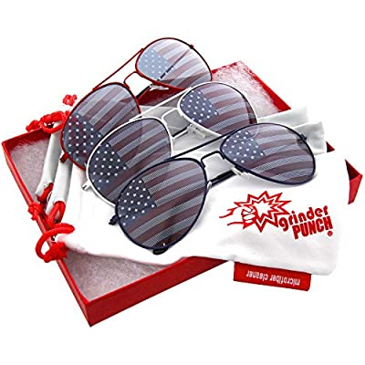 grinderPUNCH American Patriot Flag Wayfarer Sunglasses Mirror Lens USA