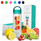 #1: Savvy Infusion Water Bottles - 24 or 32 Ounce - Featuring Unique Leak-Proof Sealed Cap w/ Handle - Includes Bonus Recipe Ebook
