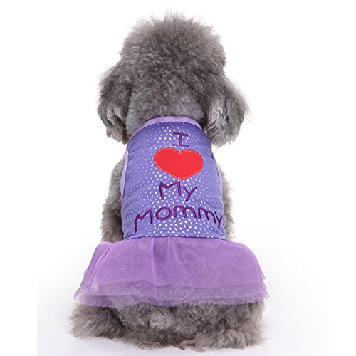 BUYITNOW Dog Girls Dot Lace Skirt I Love My Mommy Printed Dress Clothes for Small Medium Pet (Small Dog Female Clothes)