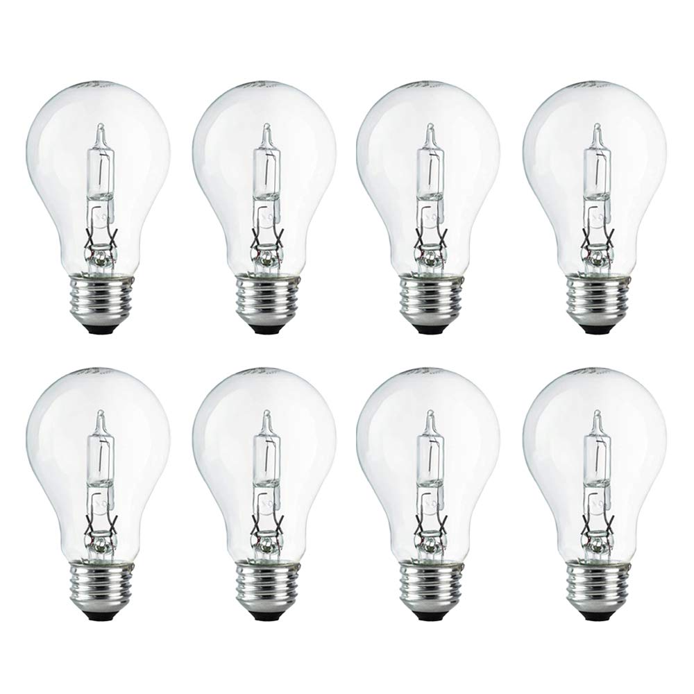 A19 Clear Halogen Light Bulb, 72 Watt, (100W Equivalent), 2700K Soft White, E26 Medium Base, 750 Lumens, 120V (8 Pack)