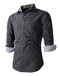 Benibos Men's Casual Long Sleeve Plaid Slim Fit Dress Shirts
