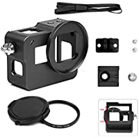 SHOOT Rear Door Removable Aluminium Alloy Metal Skeleton Protective Frame Housing Cage Case Shell Side Open Wire Connectable with 52mm UV Filter for Gopro Hero 5 Action Camera Accessories(Black)