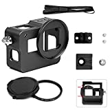 SHOOT Protective Metal Case for GoPro HERO 5/HERO(2018),Aluminium Alloy Frame Housing Shell, with Rear Cover,52mm UV Filter, Hot Shoe(Black)