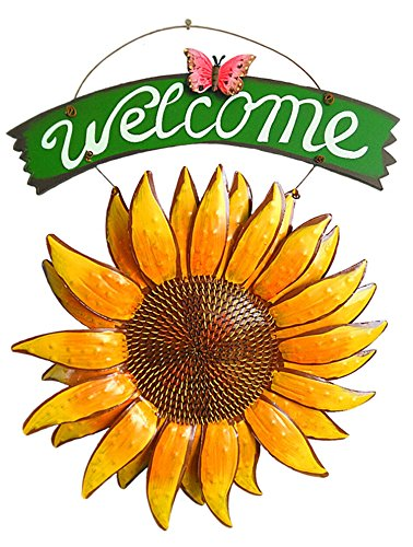D-Foxes Vintage Iron Hanging Butterfly Sunflower Welcome Sign 12x15 inch for Door Hanging Home Decor (Friends Door Welcome)