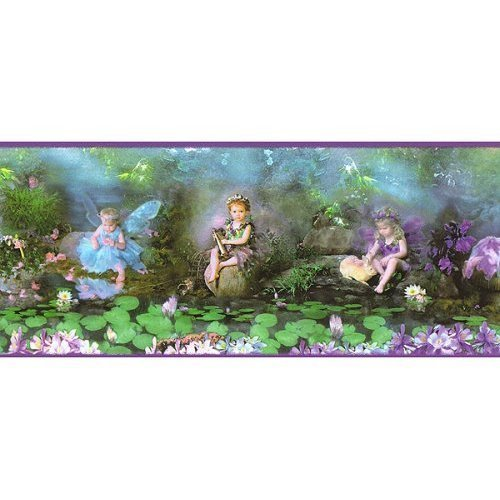 (Expressions Purple Garden Fairy Fairies Wallpaper Wall Paper Border Singles)