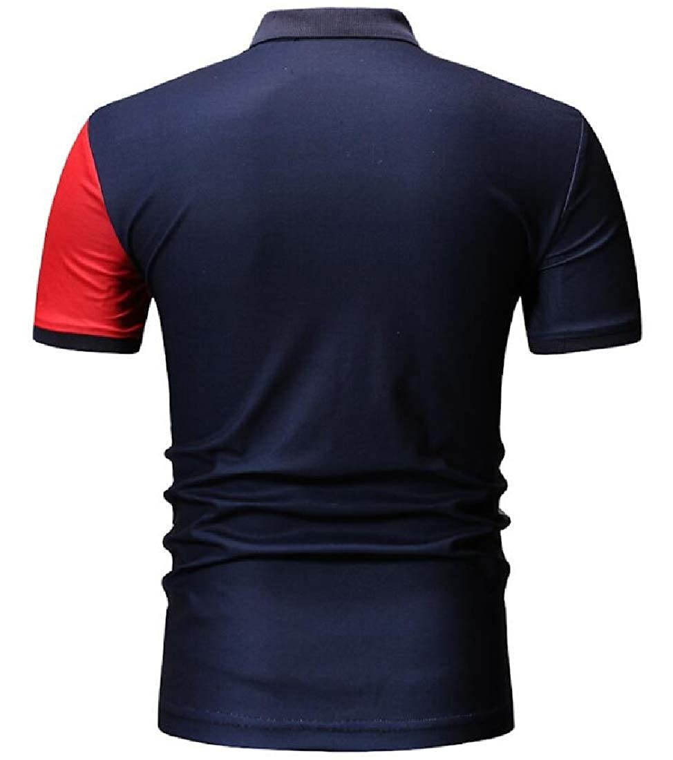 HANA+Dora Mens Loose Short Sleeve Classic Fit Color Block Jersey Polo Shirt