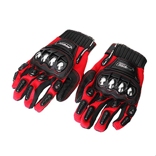 Wincom Dishman Motorcycle Gloves Alloy Steel Madbike Motorcycle Gloves Racing Motorbike Protective Gloves - (Size: 2XL, Color: Red)