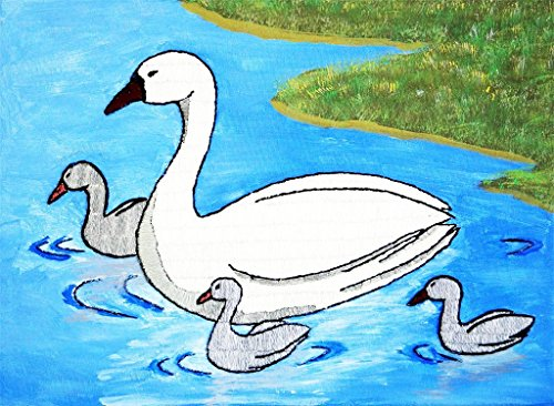 (Swan with little ducks needle painting handmade painting)