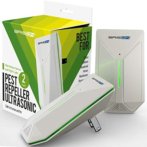 Ultrasonic Pest Repeller - Easy & Humane Way to Reject Rodents Ants Cockroaches Beds Bugs Mosquitos Fly Spiders Rats & Buts - Eco-Friendly & Safe for Human & Home Pets - 2 in Pack ()