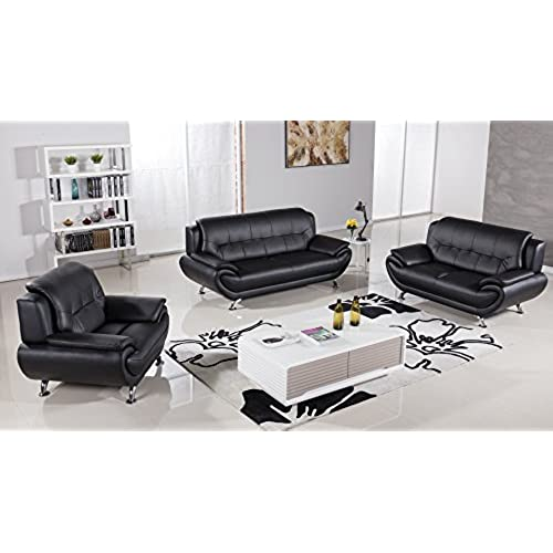 American Eagle Furniture Highland Complete 3 Piece Living Room Leather Sofa  Set, Black
