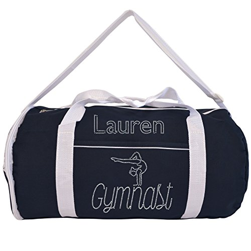 Kaysees Personalized Two-Tone Sport GYMNASTICS Duffel Bags with Gymnast's Name Black ()