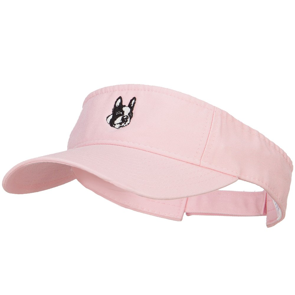 Boston Terrier Head Embroidered Pro Style Cotton Washed Visor - Lt Pink OSFM