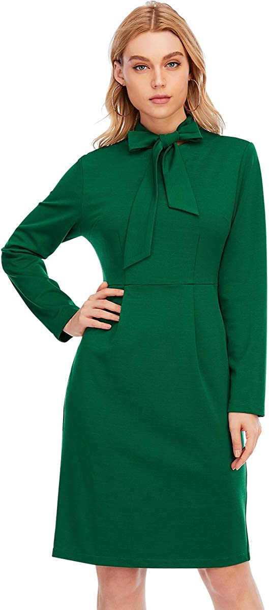 Aojo Women's Vintage Work Bodycon Dress Tie Neck Formal Cocktail Office Business Pencil Dress with Pockets