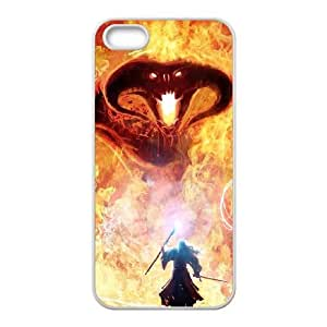 iPhone 5 5s Cell Phone Case Covers White Beast On Fire Phone Case Cover Durable Custom CZOIEQWMXN3594