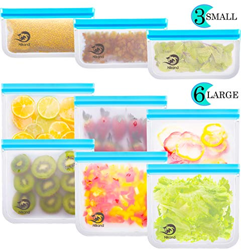 Reusable Storage Bags - Pack BPA FREE Freezer Food Container Ziplock for Sous Vide Liquid Lunch Snack Sandwich Fruits Silicon Bag Zip Lock Size Gallon Large Silicone Plastic Conteiner (Bags-9) (Color: Bags-9)