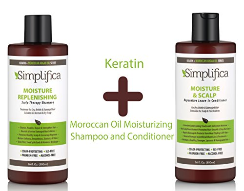 Moroccan Argan Oil + Keratin Hair Moisturizer Set (2x16 Oz) - hydrating shampoo for Dry damaged hair & deep conditioner for color treated hair – sulfate and paraben ()