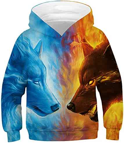 a8e1a847b TAKUSHI HF Teen Boys Girls Fashion 3D Printed Galaxy Long Sleeve Pullover  Hoodies Hooded Sweatshirts with