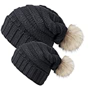 Chalier 2 Pack Winter Warm Knit Baggy Slouchy Pom Pom Beanie Hat for Mom & Baby,2 Pack (Black),L & S