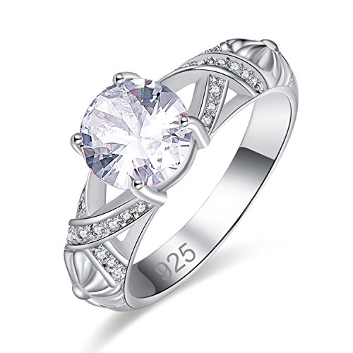 Psiroy 925 Sterling Silver Created White Topaz Filled Cocktail Anniversary Ring for Women