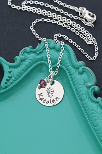 Personalized Butterfly Necklace – DII ABC - Easter Gift Basket - Little Girl Gift – Handstamped Handmade Jewelry – 5/8