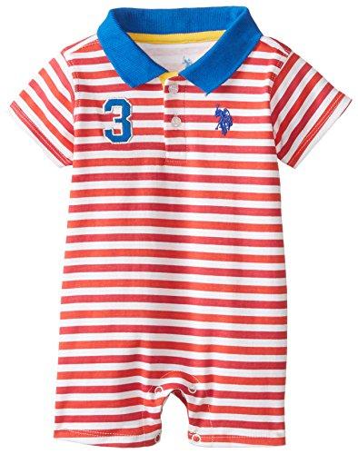 U.S. Polo Assn. Baby-Boys Newborn Striped Interlock Polo Romper, Engine Red, 6-9 Months