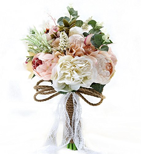 Bouquet Bridal - S-SSOY Wedding Romantic Bouquet Bride Bridal Bouquets Bridesmaid Bouquet Artificial Flowers Valentine's Day Confession Party Church