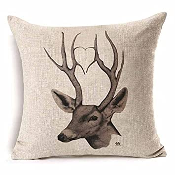 Amazon.com: 1Pcs 4343cm Deer Christmas Cotton Linen Throw ...