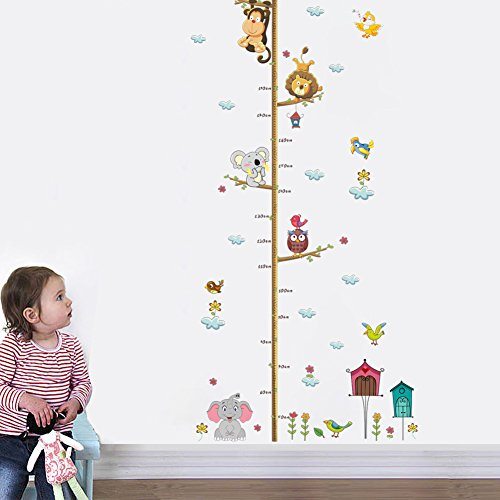 DecalMile Animal Monkey Elephant Tree Branches Height Chart Vinyl Wall Decals Removable Wall Stickers Murals for Kids Nursery Bedroom Living (Safari Wall Stickers)