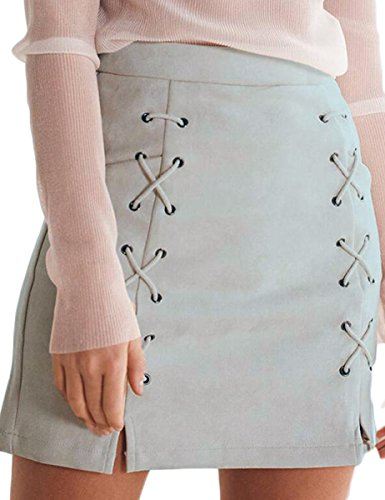 (Prograce Sexy High Waist Criss Cross Young Girl Faux Suede Keep Warm Mini Skirt Grey S)