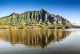 The Ko'olau Mountain Range reflecting upon Moli'i Pond, Secret Island, Oahu, Hawaii print picture photo photograph fine art