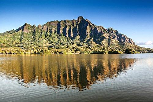 The Ko'olau Mountain Range reflecting upon Moli'i Pond, Secret Island, Oahu, Hawaii print picture photo photograph fine art by Mike Krzywonski Photography