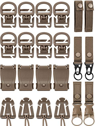 30 Pieces Molle Attachments Set Tactical Gear Clip Strap for Backpack Webbing D Ring Dominators Tactical Vest Belt (Style B)