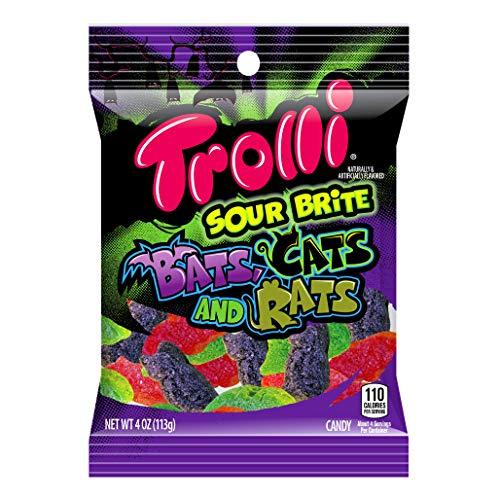Halloween Candy Bats (Trolli (1) bag Sour Brite Bats, Cats and Rats - Gummi Candy - Flavors: Cherry, Lemon, Strawberry, Grape, Orange, Lime - Assorted Halloween Shapes & Flavors Net Wt. 4)