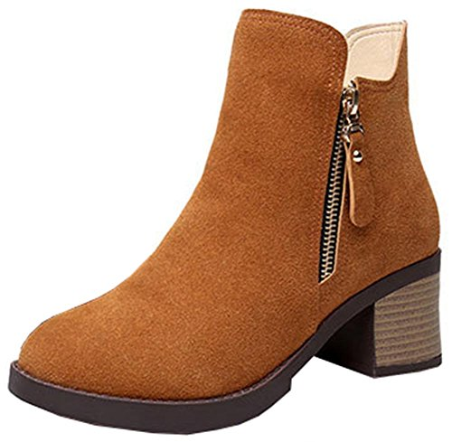 Women's Ankle Dressy Mid Toe Heeled Easemax Faux Chunky High Round Suede Up Coffee Booties Side Zip AdqWxU7w5