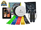 Cheap Lykoss 10-in-ONE 2 Exercise Sliders + 5 Resistance Band Loops + Tangle Free Jump Rope | Gliding Fitness Discs for Any Surface Bonus eBook System for Building Core Muscles and Dieting to Lose Fat!
