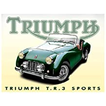 Triumph TR3 Sports Metal Sign: Automobiles and Cars Decor Wall Accent