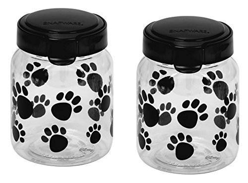 Snapware Airtight Food Storage Pet Treat Canister, Small, Pack of 2 (Lid Pet Plate)