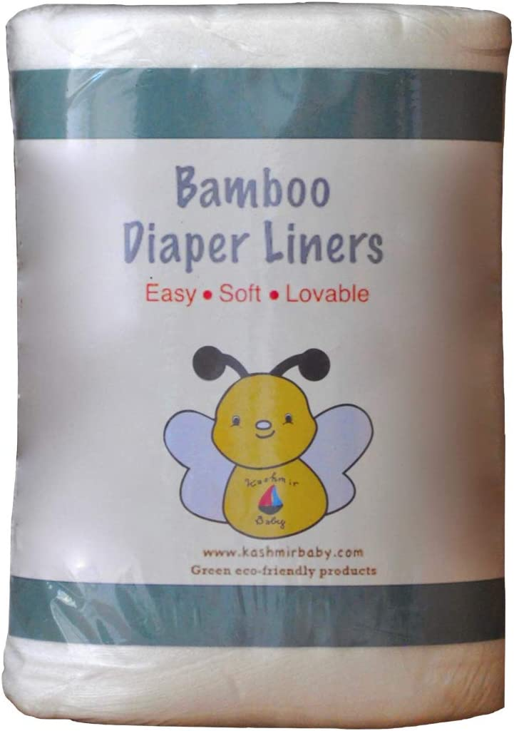 Ultra Soft. Biodegradable Unscented 100 Count Cloth Diaper Liners// Wipes use Wet or Dry Kashmir Baby Organic Bamboo Chemical Free