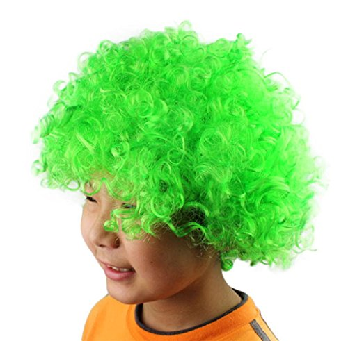 Anboo Halloween Xmas Christmas Afro Masquerade Party Costume Hair Wig Hairstyle Cosply (green)