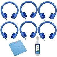 Hamilton Buhl Flex-Phones, Foam Kids Headphones & Cleaning Kit (6-Pack, Blue)