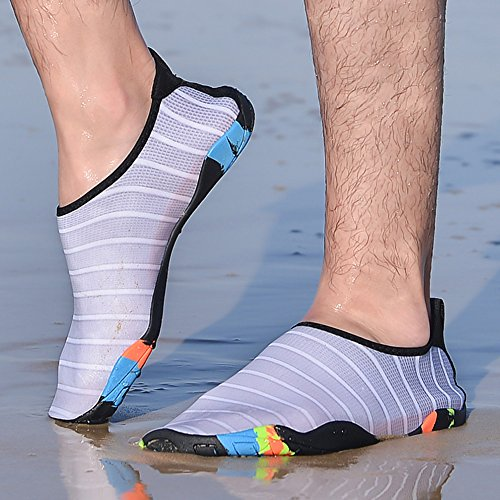 Tiebao Men and Womens Water Shoes Lightweight Barefoot Shoe For Surf Swimming Beach Yoga Grey 7losb